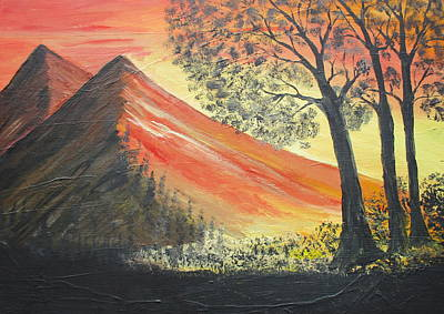 Painting - Sunset Over Mountains by Daniel Nadeau