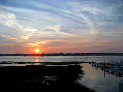 Sunset Over Murrells Inlet II Art Print by Suzanne Gaff