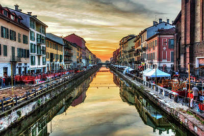 Photograph - Sunset Over Naviglio Grande by Roberto Pagani
