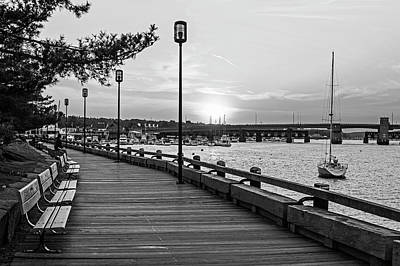 Photograph - Sunset Over Newburyport Ma Merrimack River Newburyport Turnpike Black And White by Toby McGuire