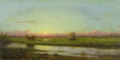 Sunset Over Water Painting - Sunset Over Newburyport Meadows by Martin Johnson