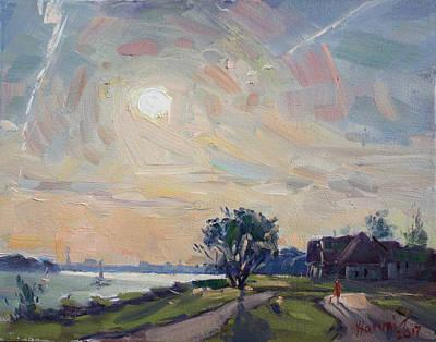 Sunset Over Niagara River Art Print