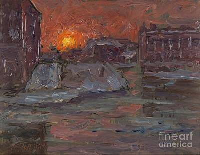 Sunset Painting - Sunset Over Norrbro by MotionAge Designs