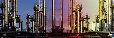 Art Print featuring the photograph Sunset Over Oil And Gas Industry by Christian Lagereek
