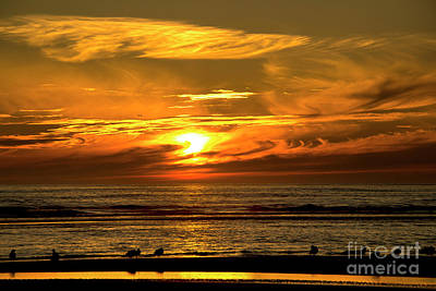 Washington Driftwood Beach Fog Wall Art - Photograph - Sunset Over Pacific Ocean - Washington by Yefim Bam