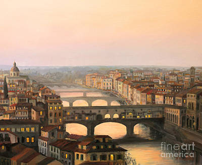 Italian Landscapes Painting - Sunset Over Ponte Vecchio In Florence by Kiril Stanchev