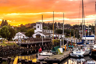 Art Print featuring the photograph Sunset Over Port Townsend by TL  Mair