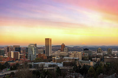 Photograph - Sunset Over Portland Cityscape And Mt Hood by David Gn