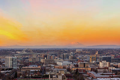 Photograph - Sunset Over Portland Cityscape And Mt Saint Helens by David Gn