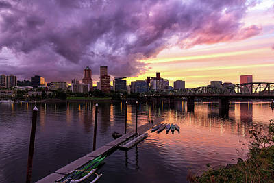 Scenic Photograph - Sunset Over Portland Oregon Downtown Waterfront by David Gn