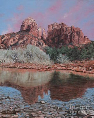 Painting - Sunset Over Red Rocks Of Sedona  by Barbara Barber