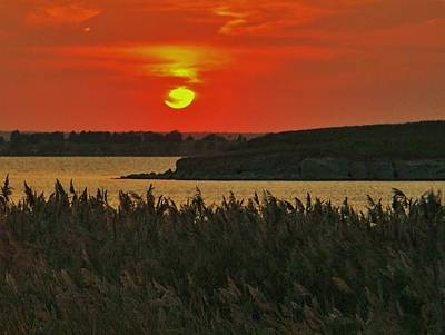 Watercolor Typographic Countries - Sunset over Reeds at Wilson Lake, Kansas by Greg Rud