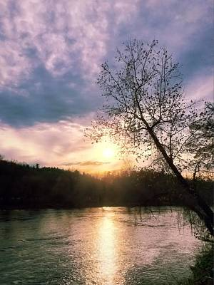 Sunset Over River Art Print