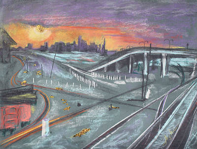 Lamp Post Mixed Media - Sunset Over San Francisco And Oakland Train Tracks by Asha Carolyn Young