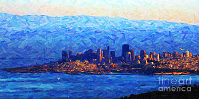 Sunset Over San Francisco Bay Print by Wingsdomain Art and Photography