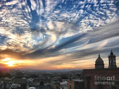Sunset Over San Miguel De Allende Art Print by John  Kolenberg