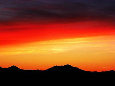 Sunset Over Santa Fe Mountains Print by Joseph Frank Baraba