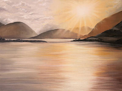 Painting - Sunset Over Scottish Loch by Elizabeth Lock