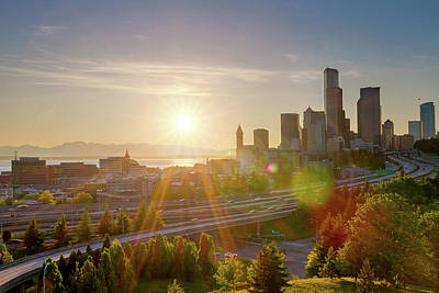 Photograph - Sunset Over Seattle Downtown Skyline by David Gn