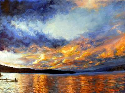 Corwin Painting - Sunset Over Skidoo Bay by James Corwin