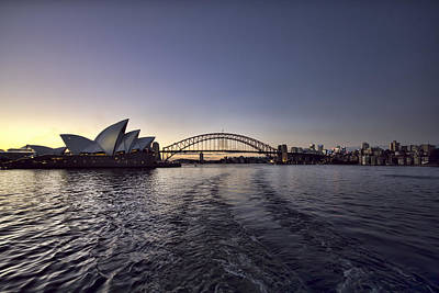 Skyline Photograph - Sunset Over Sydney Harbor Bridge And Sydney Opera House by Douglas Barnard