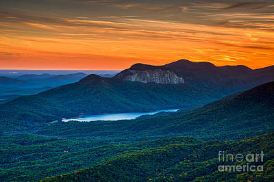 Photograph - Sunset Over Table Rock From Caesars Head State Park South Carolina by T Lowry Wilson