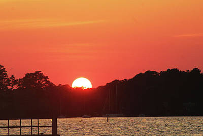 Sunset Over The Bay Art Print by Carolyn Ricks