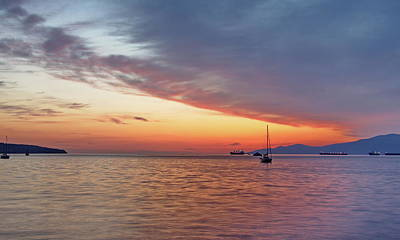 Sunset Over The Bay In A Tranquil Summer Night Art Print