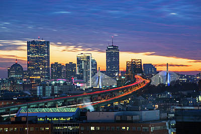 Photograph - Sunset Over The Boston Skyline Boston Ma Zakim by Toby McGuire
