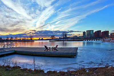 Photograph - Sunset Over The Charles River Esplanade In Winter by Joann Vitali