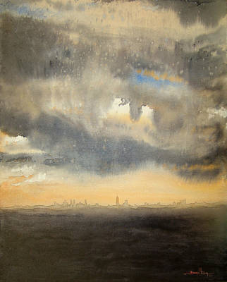 Art Print featuring the painting Sunset Over The City by Andrew King
