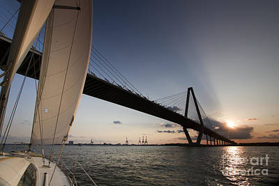 Sunset Sailing Photograph - Sunset Over The Cooper River Bridge Charleston Sc by Dustin K Ryan