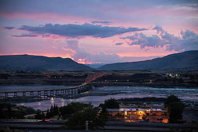 Photograph - Sunset Over The Dalles Bridge 4 by Tom Cochran