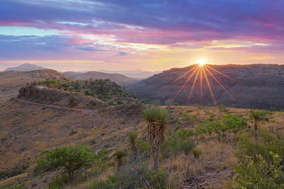 Comedian Drawings - Sunset over the Davis Mountains 2 by Rob Greebon