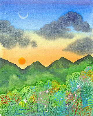 Mountain Sunset Painting - Sunset Over The Forest- Cloaked Mountains by Jennifer Baird