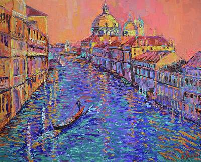 Sunset Over The Grand Canal In Venice Original by Adriana Dziuba