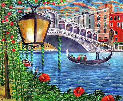 Rialto Bridge Painting - Sunset Over The Grand Canal - Venice by Ronald Haber