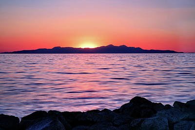 Photograph - Sunset Over The Great Salt Lake by Kayta Kobayashi
