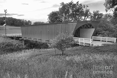 Photograph - Sunset Over The Hogback Covered Bridge Black And White by Adam Jewell