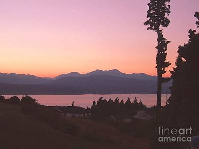 Sunset Over The Hood Canal In Washington State Art Print by Terri Thompson