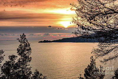 Photograph - Sunset Over The Italian Riviera by Global Light Photography - Nicole Leffer