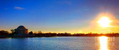 Jefferson Memorial Wall Art - Photograph - Sunset Over The Jefferson Memorial  by Olivier Le Queinec