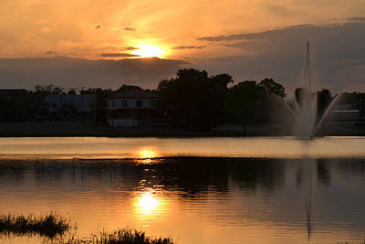Photograph - Sunset Over The Lake Desoto by rd Erickson