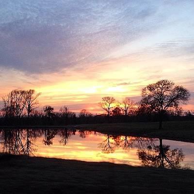 Sunset On The Lake Art Print by Jen McKnight
