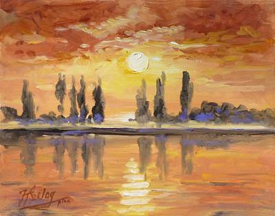 Sunset Painting - Sunset Over The Lake by Irek Szelag