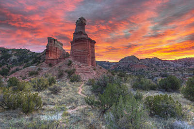 Landmarks Royalty Free Images - Sunset over the Lighthouse at Palo Duro Canyon 1 Royalty-Free Image by Rob Greebon
