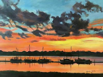 Painting - Sunset Over The Marina by Gloria Smith