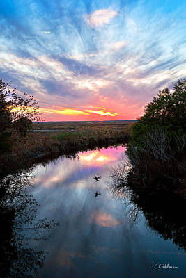 Sunset Over The Marsh Art Print by Christopher Holmes