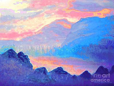 Painting - Sunset Over The Mountains by Holly Martinson