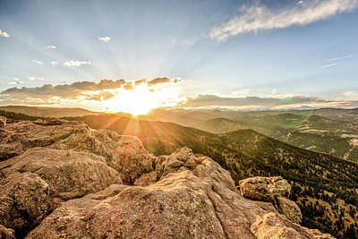 Sunset Over The Mountains Of Flaggstaff Road In Boulder, Colorad Art Print by Peter Ciro